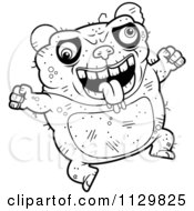 Cartoon Clipart Of An Outlined Jumping Ugly Panda Black And White Vector Coloring Page by Cory Thoman
