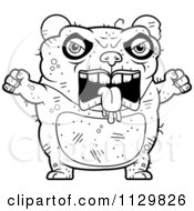 Cartoon Clipart Of An Outlined Angry Ugly Panda Black And White Vector Coloring Page by Cory Thoman