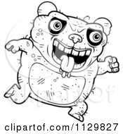 Cartoon Clipart Of An Outlined Running Ugly Panda Black And White Vector Coloring Page by Cory Thoman
