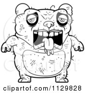 Cartoon Clipart Of An Outlined Depressed Ugly Panda Black And White Vector Coloring Page