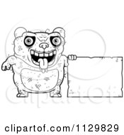 Cartoon Clipart Of An Outlined Ugly Panda With A Sign Black And White Vector Coloring Page by Cory Thoman