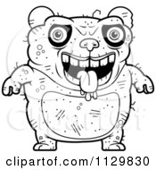 Cartoon Clipart Of An Outlined Drooling Ugly Panda Black And White Vector Coloring Page by Cory Thoman