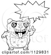 Cartoon Clipart Of An Outlined Talking Ugly Panda Black And White Vector Coloring Page by Cory Thoman