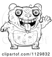 Cartoon Clipart Of An Outlined Waving Ugly Panda Black And White Vector Coloring Page by Cory Thoman