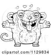 Cartoon Clipart Of An Outlined Loving Ugly Monkey Black And White Vector Coloring Page by Cory Thoman