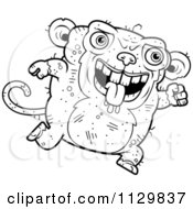 Cartoon Clipart Of An Outlined Running Ugly Monkey Black And White Vector Coloring Page by Cory Thoman
