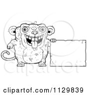Cartoon Clipart Of An Outlined Ugly Monkey With A Sign Black And White Vector Coloring Page by Cory Thoman