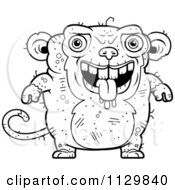 Cartoon Clipart Of An Outlined Drooling Ugly Monkey Black And White Vector Coloring Page by Cory Thoman