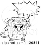 Cartoon Clipart Of An Outlined Talking Ugly Monkey Black And White Vector Coloring Page by Cory Thoman