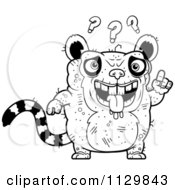 Cartoon Clipart Of An Outlined Confused Ugly Lemur Black And White Vector Coloring Page by Cory Thoman