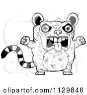 Cartoon Clipart Of An Outlined Angry Ugly Lemur Black And White Vector Coloring Page by Cory Thoman