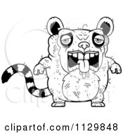 Cartoon Clipart Of An Outlined Depressed Ugly Lemur Black And White Vector Coloring Page by Cory Thoman
