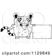 Cartoon Clipart Of An Outlined Ugly Lemur With A Sign Black And White Vector Coloring Page by Cory Thoman
