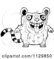 Cartoon Clipart Of An Outlined Ugly Lemur Black And White Vector Coloring Page by Cory Thoman
