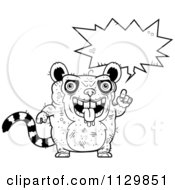 Cartoon Clipart Of An Outlined Talking Ugly Lemur Black And White Vector Coloring Page by Cory Thoman