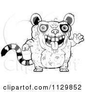 Cartoon Clipart Of An Outlined Waving Ugly Lemur Black And White Vector Coloring Page by Cory Thoman