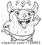 Cartoon Clipart Of An Outlined Confused Pudgy Green Gremlin Black And White Vector Coloring Page by Cory Thoman