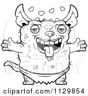 Cartoon Clipart Of An Outlined Amorous Pudgy Green Gremlin Black And White Vector Coloring Page by Cory Thoman
