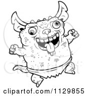 Cartoon Clipart Of An Outlined Jumping Pudgy Green Gremlin Black And White Vector Coloring Page by Cory Thoman