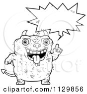 Cartoon Clipart Of An Outlined Talking Ugly Devil Black And White Vector Coloring Page by Cory Thoman
