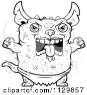 Cartoon Clipart Of An Outlined Angry Pudgy Green Gremlin Black And White Vector Coloring Page by Cory Thoman