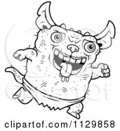 Cartoon Clipart Of An Outlined Running Pudgy Green Gremlin Black And White Vector Coloring Page by Cory Thoman