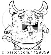 Cartoon Clipart Of An Outlined Depressed Pudgy Green Gremlin Black And White Vector Coloring Page by Cory Thoman