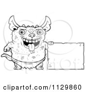 Cartoon Clipart Of An Outlined Pudgy Green Gremlin With A Sign Black And White Vector Coloring Page by Cory Thoman