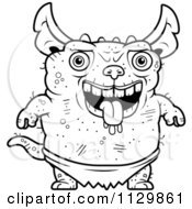 Cartoon Clipart Of An Outlined Pudgy Green Gremlin Black And White Vector Coloring Page by Cory Thoman