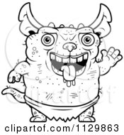 Cartoon Clipart Of An Outlined Waving Pudgy Green Gremlin Black And White Vector Coloring Page by Cory Thoman