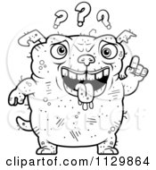 Cartoon Clipart Of An Outlined Dumb Ugly Dog With Questions Black And White Vector Coloring Page by Cory Thoman