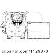 Cartoon Clipart Of An Outlined Ugly Dog Holding A Sign Black And White Vector Coloring Page by Cory Thoman