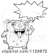 Cartoon Clipart Of An Outlined Talking Ugly Dog Black And White Vector Coloring Page by Cory Thoman