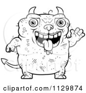 Cartoon Clipart Of An Outlined Waving Ugly Devil Black And White Vector Coloring Page by Cory Thoman