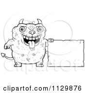 Cartoon Clipart Of An Outlined Ugly Devil With A Sign Black And White Vector Coloring Page by Cory Thoman