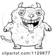 Cartoon Clipart Of An Outlined Drooling Ugly Devil Black And White Vector Coloring Page by Cory Thoman