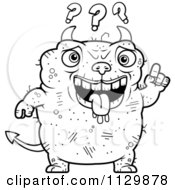 Cartoon Clipart Of An Outlined Dumb Ugly Devil Black And White Vector Coloring Page by Cory Thoman