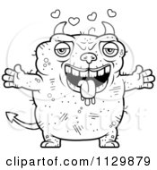 Cartoon Clipart Of An Outlined Loving Ugly Devil Black And White Vector Coloring Page