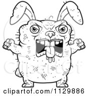 Cartoon Clipart Of An Outlined Mad Ugly Rabbit Black And White Vector Coloring Page