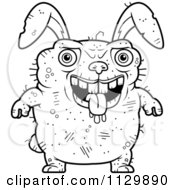 Cartoon Clipart Of An Outlined Drooling Ugly Rabbit Black And White Vector Coloring Page by Cory Thoman