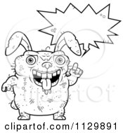 Cartoon Clipart Of An Outlined Talking Ugly Rabbit Black And White Vector Coloring Page by Cory Thoman