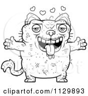 Cartoon Clipart Of An Outlined Loving Ugly Cat Black And White Vector Coloring Page by Cory Thoman
