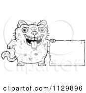 Cartoon Clipart Of An Outlined Ugly Cat With A Sign Black And White Vector Coloring Page by Cory Thoman