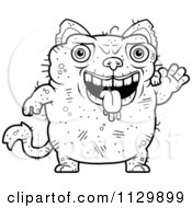 Cartoon Clipart Of An Outlined Waving Ugly Cat Black And White Vector Coloring Page by Cory Thoman
