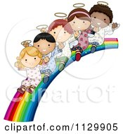 Cartoon Of Cute Multi Ethnic Angel Children Sliding Down A Rainbow Royalty Free Vector Clipart