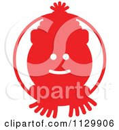 Cartoon Of A Round Red Snowman Christmas Avatar Royalty Free Vector Clipart