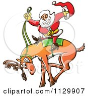 Cartoon Of A Rodeo Santa Riding A Bucking Christmas Reindeer Royalty Free Vector Clipart