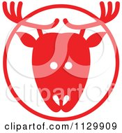 Cartoon Of A Round Red Reindeer Christmas Avatar Royalty Free Vector Clipart by Zooco