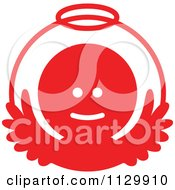 Cartoon Of A Round Red Angel Christmas Avatar Royalty Free Vector Clipart