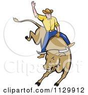 Poster, Art Print Of Retro Rodeo Cowboy On A Bucking Bull